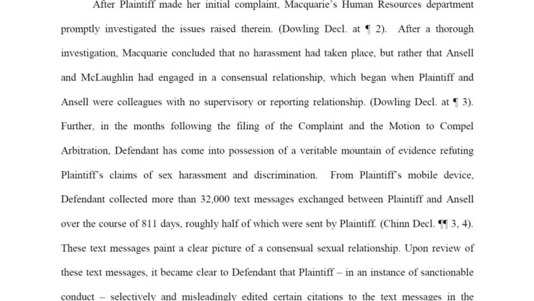 An extract from Macquarie Bank's response to Ms McLaughlin's court filing.