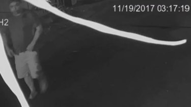 CCTV vision of Dean Thomas Mulholland entering the laneway on November 19 last year.
