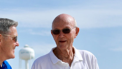 Apollo 11 astronaut Michael Collins is back on the launch pad