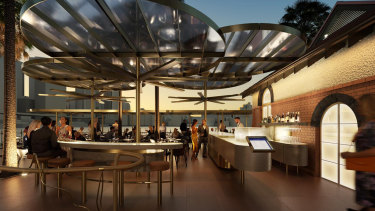 An artist's impression of the proposed upgrades to the Sydney Cove Oyster Bar pitched to the state government.