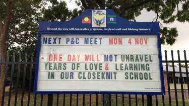 Heatley State School's noticeboard on Tuesday morning.