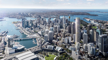 An image of Sydney's tallest future residential tower, at 270 metres, which is being developed by Mirvac at 505 George Street.