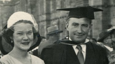 Bill and Barbara Barclay at his graduation in 1953.