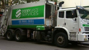 A garbage truck after its driver was arrested in Kings Cross.