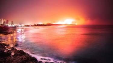 Mike Swaine's view from Point Perry at Coolum Beach looking north to the Peregian fires on Monday night.