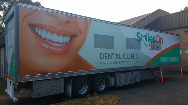 One of the Smiles Onsite mobile dental vans visiting James Meehan High School in NSW.