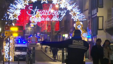 Police at the scene of the shooting, near the Christmas market in Strasbourg.