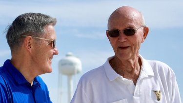 Michael Collins, right, with Kennedy Space Centre director Bob Cabana at Launch Complex 39A.