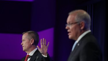 Prime Minister Scott Morrison and Opposition Leader Bill Shorten slug it out during the election campaign.