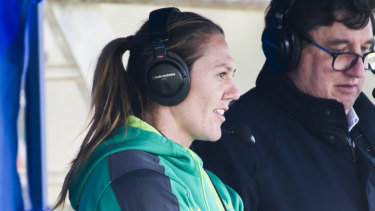 Australian sevens captain Sharni Williams commentated the women's sevens action in Canberra on Saturday.