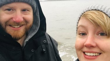 Melbourne man Chris Cousens, pictured with partner Naomi Keessen, is one of around 5000 Australians stranded in the UK and fears tighter rules on arrivals could make it even harder to get home.