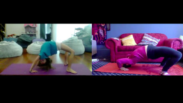 Katie McMurray does yoga with her niece on Zoom.
