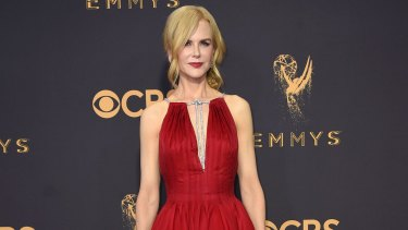Nicole Kidman in Calvin Klein by Appointment arrives at the 69th Primetime Emmy Awards.