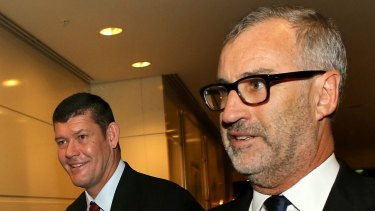 James Packer, left, with former Crown Resorts chairman Rob Rankin pictured in 2015.