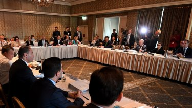 Federal Energy Minister Josh Frydenberg speaks during a COAG Energy Council meeting in Brisbane.