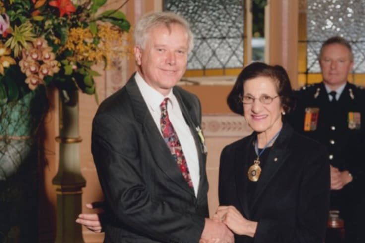 John Anderson with then Governor of NSW Marie Bashir at the investiture ceremony to mark the PSM award.
