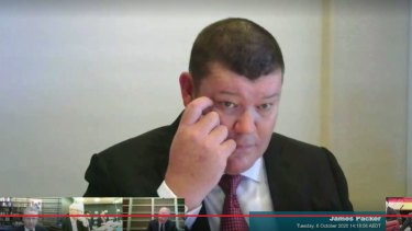 James Packer gives evidence via video link.