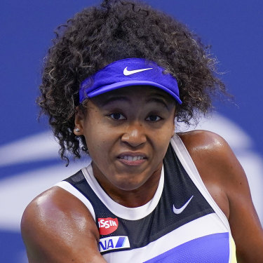 Osaka plays a return in the 2020 US Open.