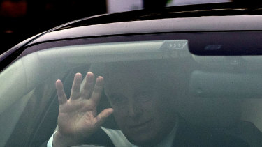 Prince Andrew leaves his home in Windsor in England on Thursday.
