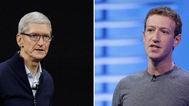 Apple CEO Tim Cook (left) and Facebook's Mark Zuckerberg (right).
