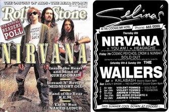 Nirvana on the cover of Rolling Stone in May 1992 and, right, a poster promoting Nirvana (supported by You Am I) at Selina's at the Coogee Bay Hotel in Sydney in February 1992.