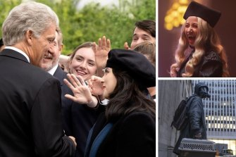 Clockwise from main: Clive Owen and Beanie Feldstein in Impeachment, What We Do in the Shadows and Y: The Last Man.
