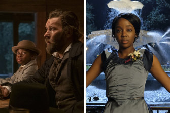 From left: Chase Dillon as Homer, Joel Edgerton as Ridgeway and Thuso Mbedu as Cora in The Underground Railroad.