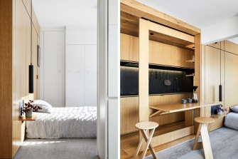 Tsai Design's remodelled apartment features concealed bedroom storage (left) and a fold-out dining table contained within a sliding wall.