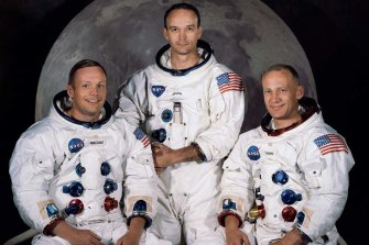 "The crew of the Apollo 11 mission, (from left) mission commander Neil Armstrong, command module pilot Michael Collins and lunar module pilot Edwin ""Buzz"" Aldrin."