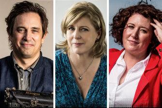 Bestselling authors Trent Dalton, Liane Moriarty and Jane Harper.