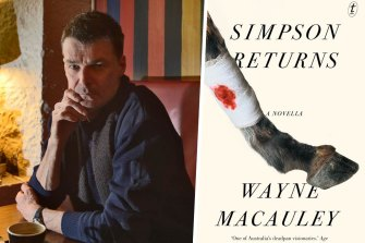 Author Wayne Macauley and his book Simpson Returns.