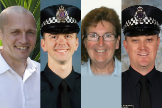 Senior Constable Kevin King (left), Constable Josh Prestney, Leading Senior Constable Lynette Taylor and Constable Glen Humphris were killed on the Eastern Freeway.