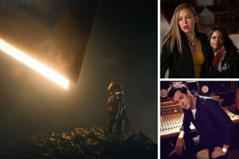 Clockwise from main: Leah Harvey in Foundation, Kate Hudson and Octavia Spencer in Truth Be Told and Mark Ronson.