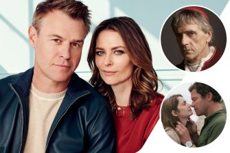Clockwise from main: Rodger Corser and Kat Stewart star in Five Bedrooms, Jeremy Irons in The Borgias and The Affair.