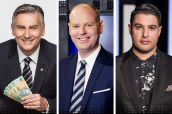 Millionaire Hot Seat host Eddie McGuire, Hard Quiz host Tom Gleeson and Mastermind host Marc Fennell.