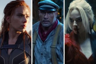 From left: Scarlett Johansson in Black Widow, Dwayne Johnson in Jungle Cruise and Margot Robbie in The Suicide Squad.