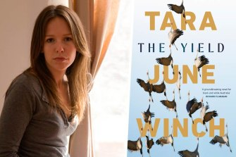 Author Tara June Winch and her novel The Yield.