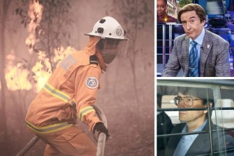 Clockwise from main: Hunter Page-Lochard in Fires, Steve Coogan as Alan Partidge and David Tennant in Des.