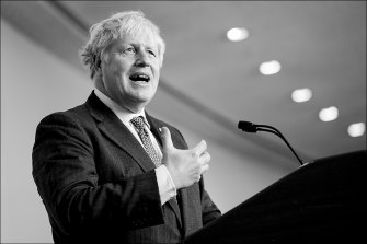 """British PM Boris Johnson: """"we must go further and faster""""."""