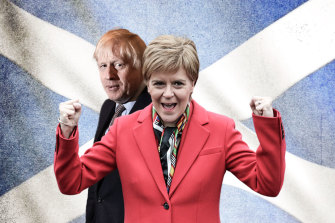 Scotland's First Minister Nicola Sturgeon and British Prime Minister Boris Johnson.