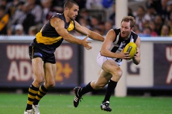 Ben Johnson during his playing days for Collingwood.