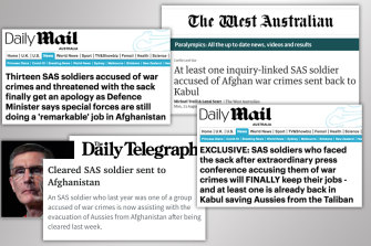 A series of stories appears to be intended to undermine confidence in war crimes investigations into special forces operatives.