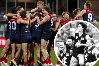Stacks on: Max Gawn and the Demons celebrate their win against Geelong. Inset: Stephen Kernahan at the 1987 VFL final.
