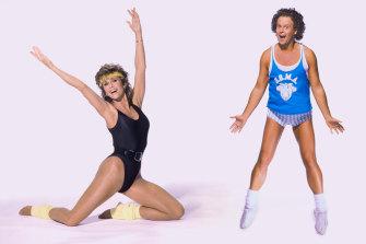 Fitness stars of the '80s, Jane Fonda and Richard Simmons.