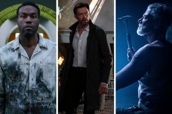 From left: Yahya Abdul-Mateen II in Candyman, Hugh Jackman in Reminiscence and Stephen Lang in Don't Breathe 2.