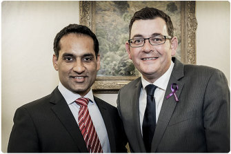 Jasvinder Sidhu with Daniel Andrews.