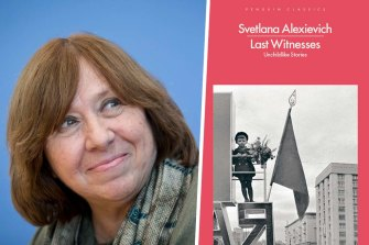 Author Svetlana Alexievich and her book Last Witnesses.