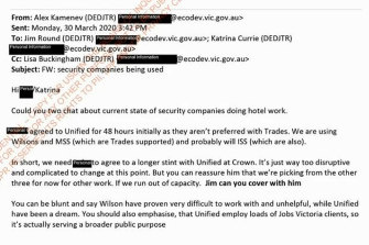 Department secretary Alex Kamenev advises Katrina Currie what to tell Trades Hall after concerns were raised about Unified Security.