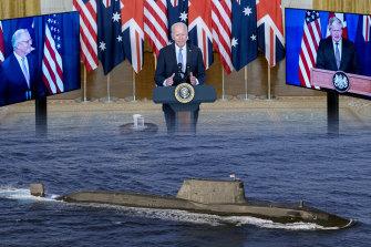 Scott Morrison joins US President Joe Biden and UK Prime Minister Boris Johnson to announce the defence pact on Thursday.