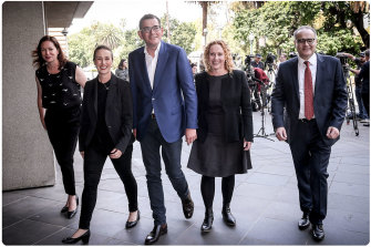 (L to R) Jaclyn Symes, Gabrielle Williams, Daniel Andrews, Melissa Horne and Adem Somyurek.